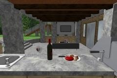Outdoor Living 3D Rendering Kitchen